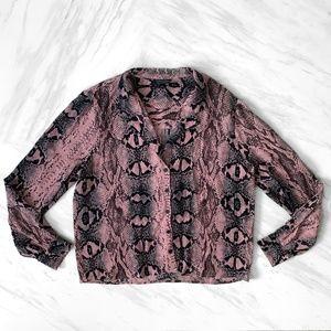 Topshop Button-Down Snake Print Blouse